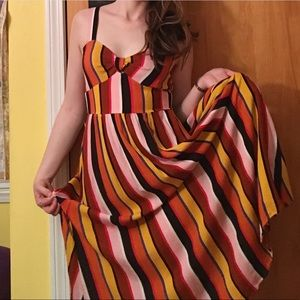 Striped Ankle-Length Dress